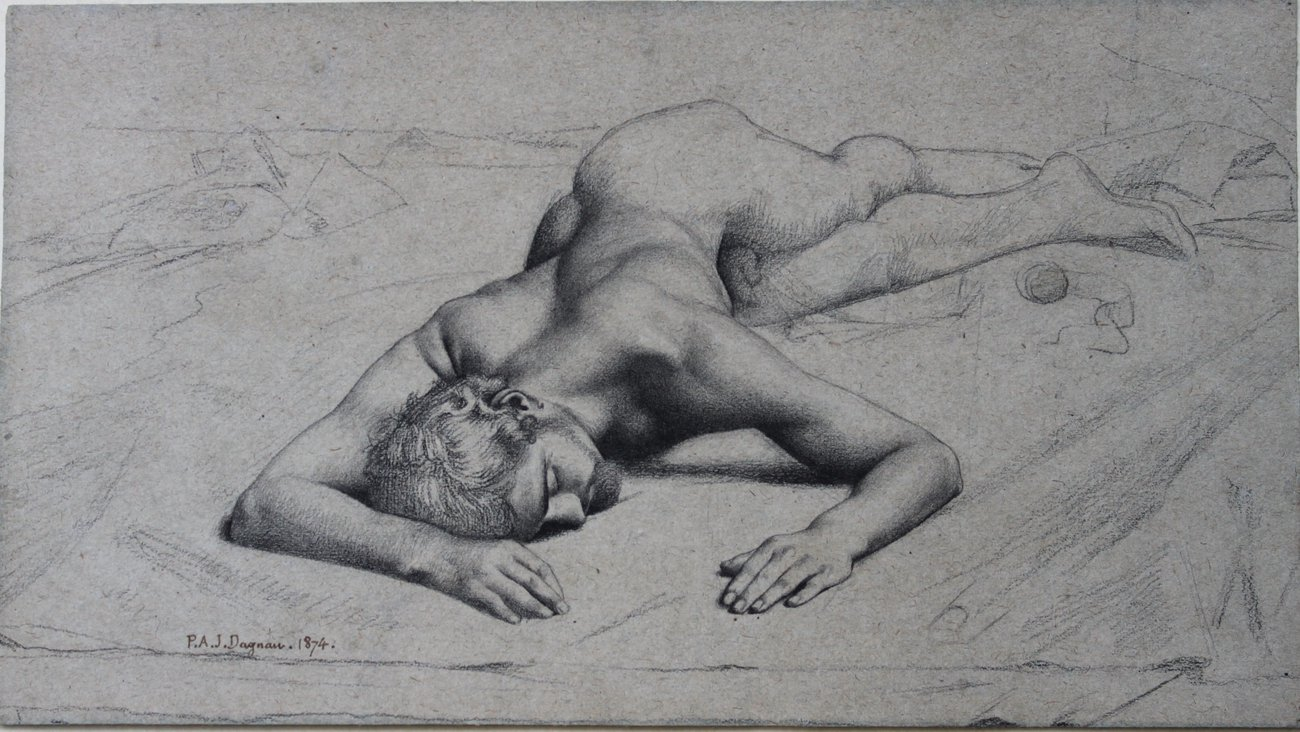 Preview image for Reclining Male Nude; Study for Atalante