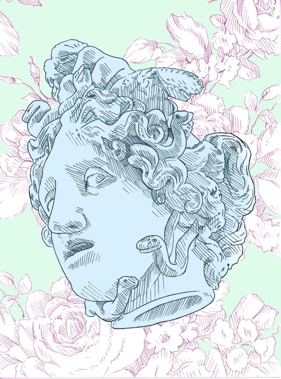 """Preview image for """"Bad Feminist (White Floral Medusa)"""""""