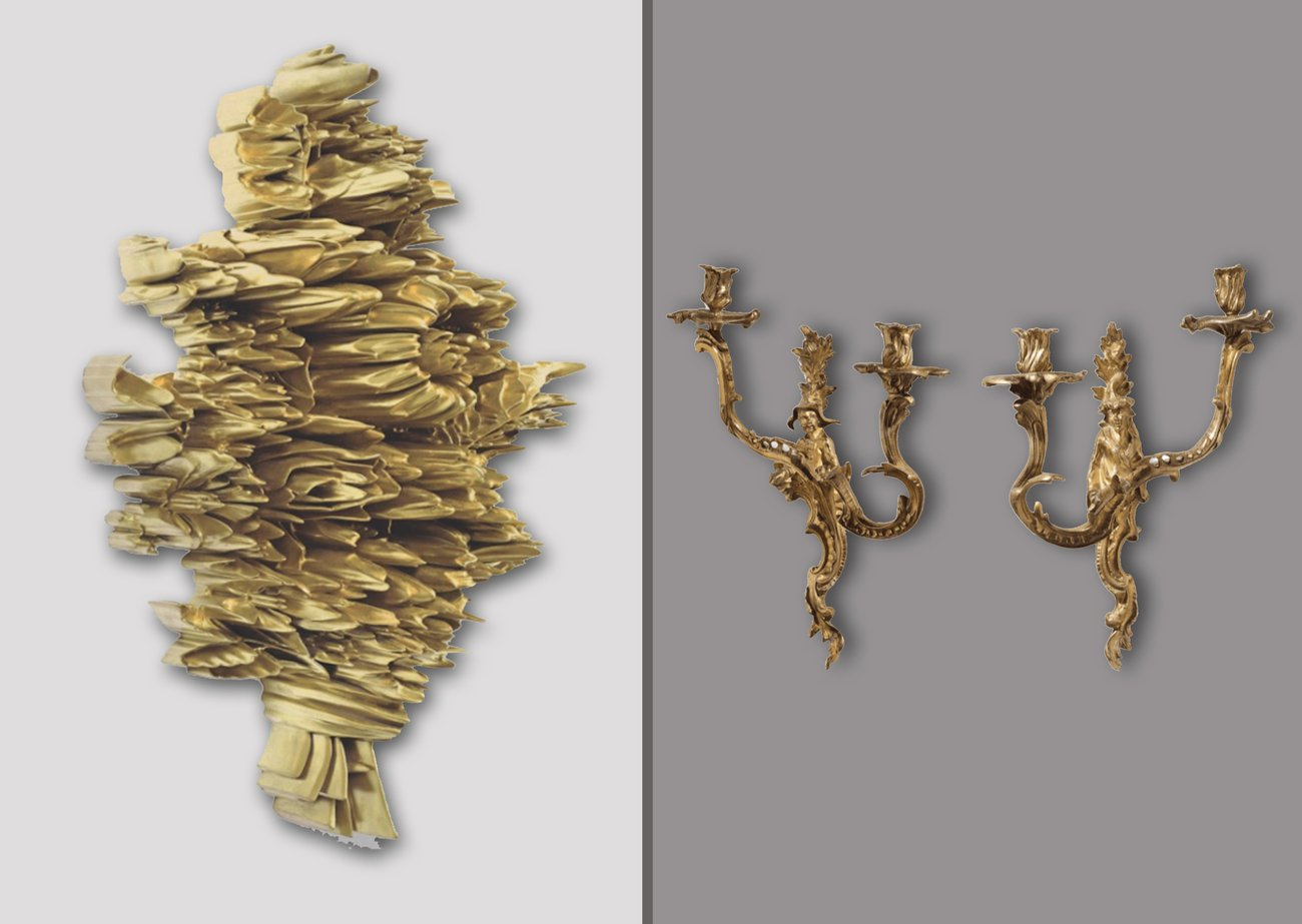 Preview image for Robert Lazzarini and Late 19th Century Pair of Regence Style Ormolu Two Light Sconces