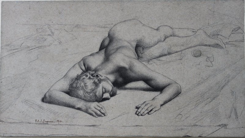 Reclining Male Nude; Study for Atalante