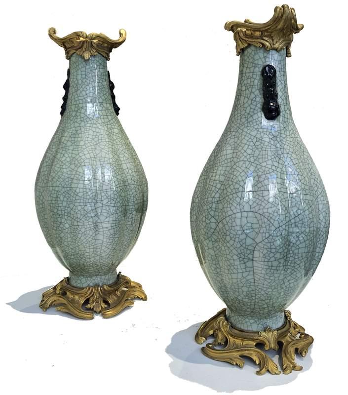 Pair of Ormolu-Mounted Chinese Craqulaured Celadon Vases