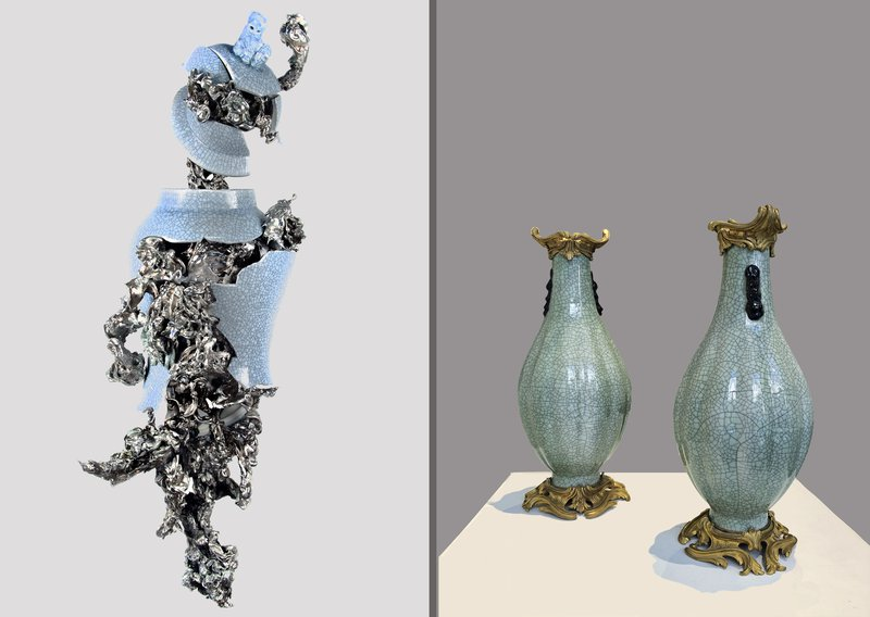 Peter Gronquist and Early 20th Century Ormolu-Mounted Chinese Craqulaured Celadon Vases