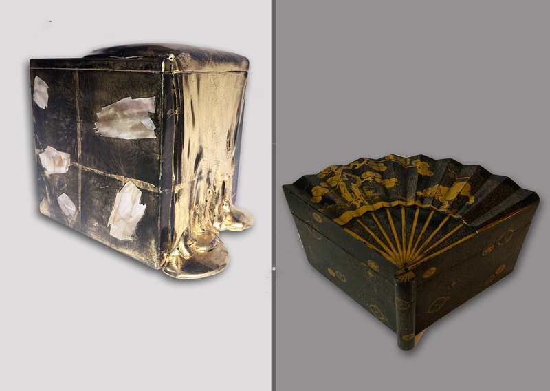 Nancy Lorenz and Japanese Lacquer Box of Inro-Buta-Zukuri type in the form of a fan